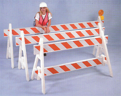 A-Frame Plastic Barricades and Jersey Barriers