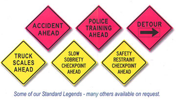Law Enforcement Fire Safety Service Roll-Up Signs And Stands